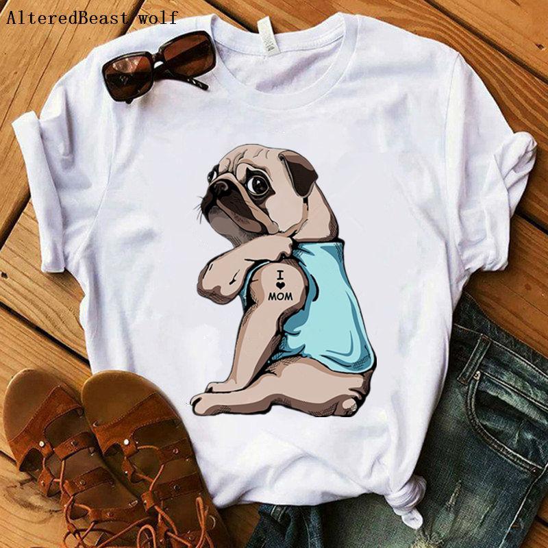 Pug eu amo a mãe camiseta 2020 moda feminina roupas casuais impressão harajuku kawaii topos camiseta de manga curta linda menina mama t camisa