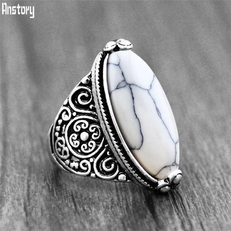 La flor Oval Piedra Natural anillos para las mujeres Vintage Look antiguo plateado 5 colores joyería TR362