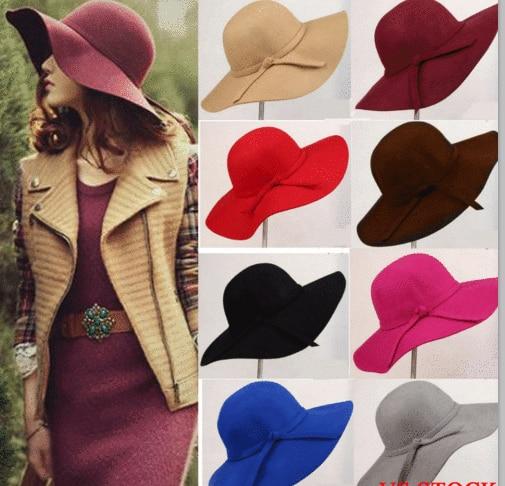 AliExpress - Vintage Lady Wide Brim Wool Felt Hat Womens Floppy Felt Bowler Cloche Cap