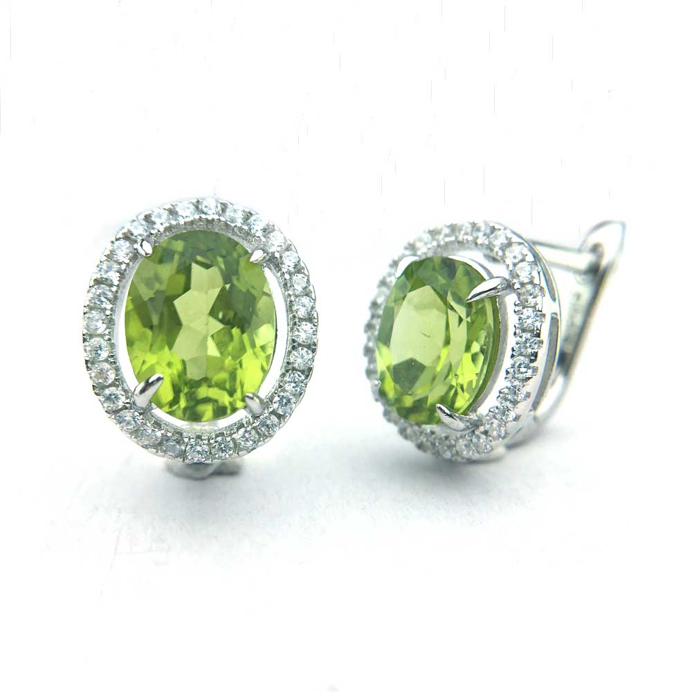 CSJ  Noble Natural Peridot Earring Sterling 925 Silver oval 7*9mm Gemstone Fine Jewelry for Women Lady Party Gift