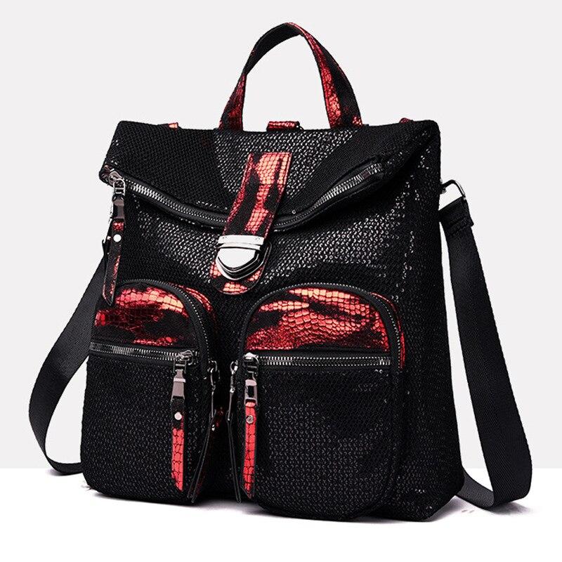 حقيبة ظهر مطرزة للمراهقين ، حقيبة ظهر عصرية للمراهقين باللون الأسود والأحمر ، حقيبة ظهر يومية للنساء ، حقيبة مدرسية أنيقة للكلية