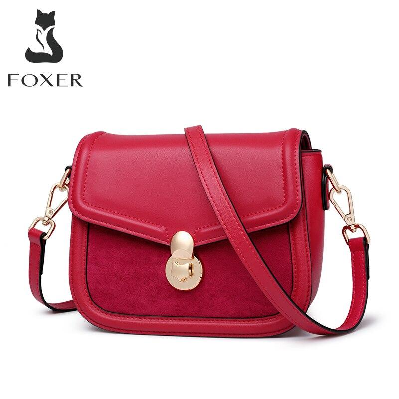 FOXER-حقيبة كتف صغيرة من جلد البقر للنساء ، حقيبة يد صغيرة ، بسيطة وعادية ، عصرية