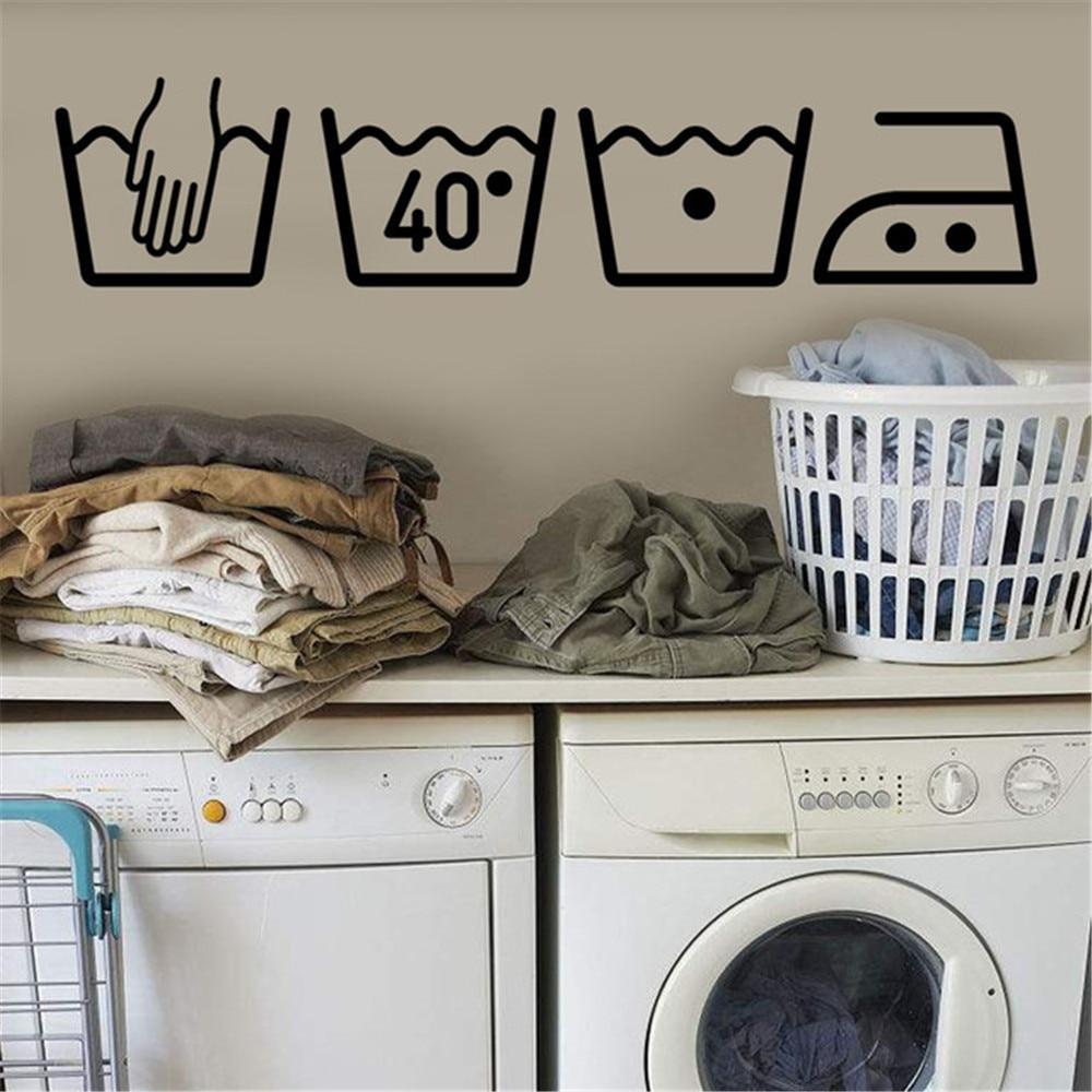 Máquina de lavado pegatina de pared en la pared arte extraíble Mural de vinilo decoración del hogar sala de lavandería símbolo decoración para salas de lavandería