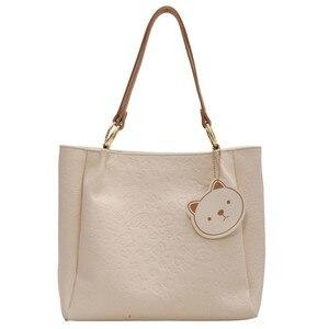 Casual Pu Leather Handbag Cartoon Print Tote Bags for Women 2021 New Black Big Shopper Bag Roomy Lady Large Travel Shoulder Bag