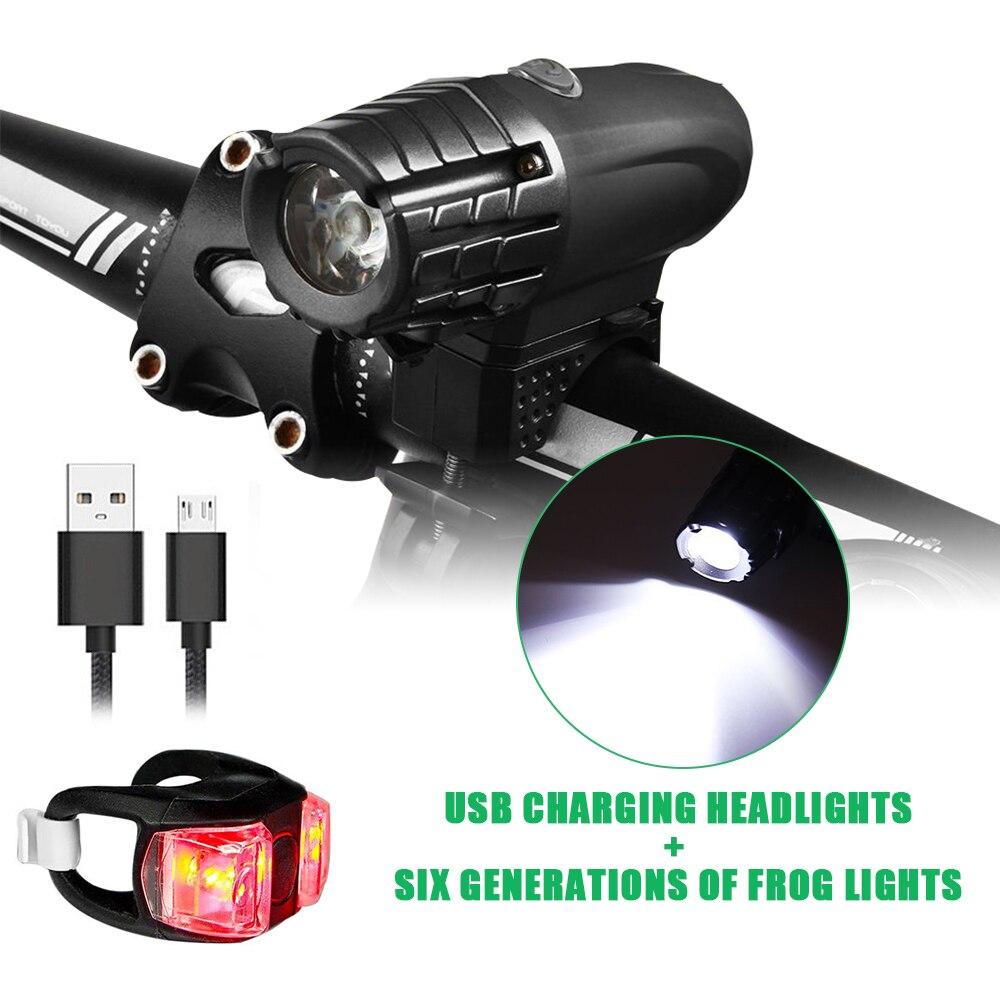 Faro delantero recargable por USB, linterna de seguridad resistente al agua para bicicleta con luz duradera de larga duración de alta potencia