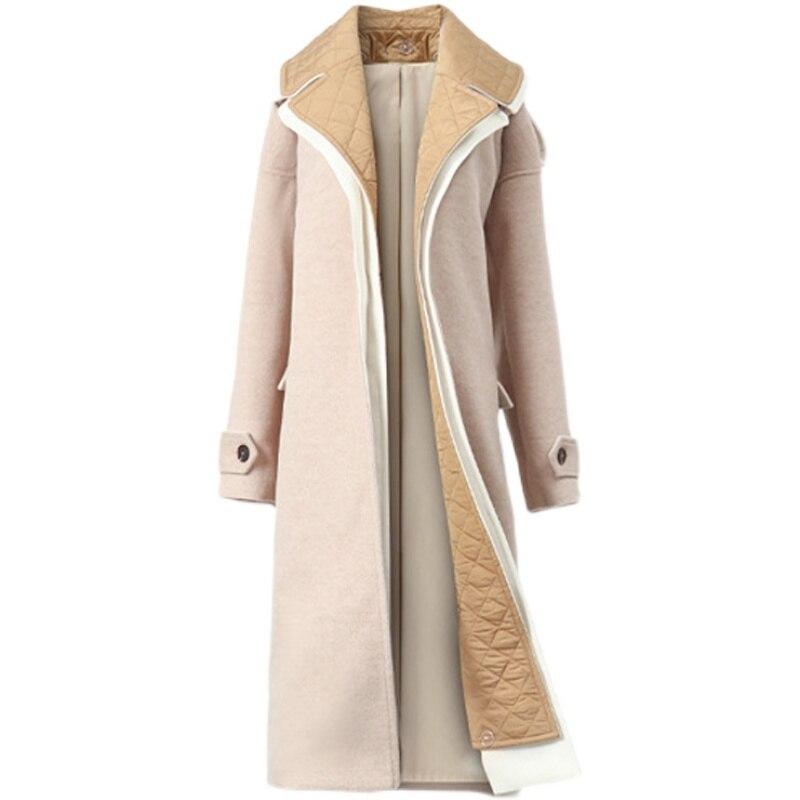 Зимнее теплое шерстяное пальто 2021, высокое качество, стеганое длинное пальто с поясом, Женское шерстяное пальто-Тренч с плюшевой подкладкой...