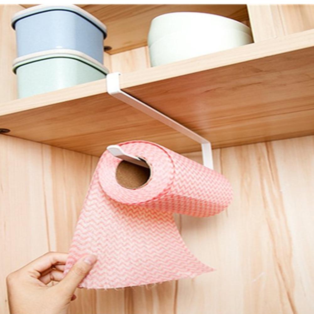 Practical Kitchen toilet roll paper towel rack holder   no Punch Cabinet Napkins Hanger Cling Film Storage Wardrobe Door