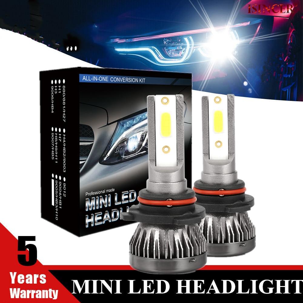 1 par mini h1 h7 h8 h9 h11 conduziu a lâmpada do farol carro kit 9005 hb3 9006 hb4 6000k 12v branco lâmpada de cabeça de nevoeiro auto
