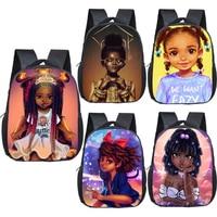 Детский рюкзак с короной для девочек, школьные ранцы черного цвета с мультипликационным изображением афро-девушек, Подарочная сумка для де...