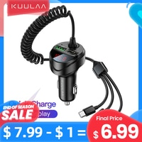Автомобильное зарядное устройство KUULAA USB, быстрая зарядка 4,0, быстрая зарядка, зарядное устройство Micro USB C с кабелем для телефонов iPhone, Huawei, ...