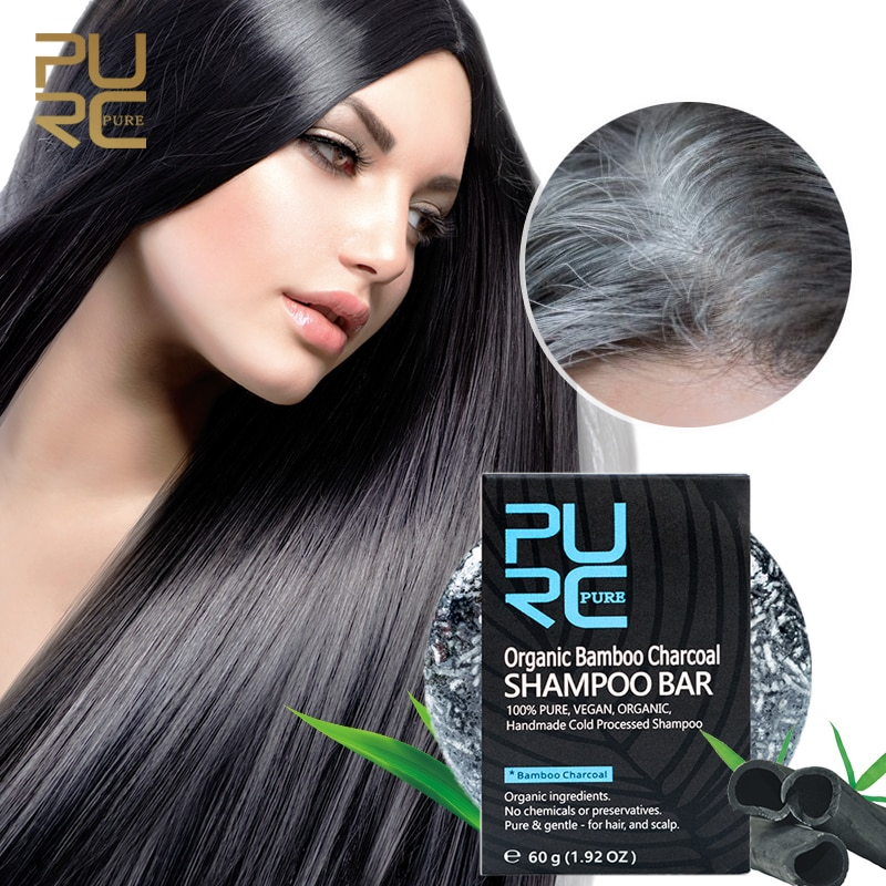 Gray White Hair Color Dye Treatment Bamboo Charcoal Clean Detox Soap Bar Black Hair Shampoo Shiny Ha