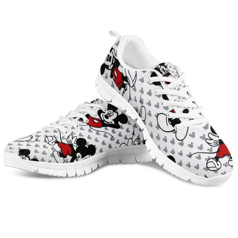 HaoYun mujeres cómodas de Enfermería de malla Zapatillas de dibujos animados lindo ratón estampados patrón niñas blanco zapatos planos para caminar Zapatillas