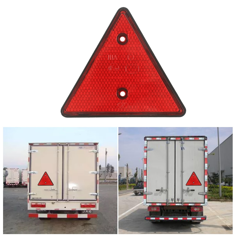 Red Rear Reflector Triangle Reflective Sign Screw Mount E22 Warning Safety Reflector For Trailer Motorcycle Caravan Truck Boat