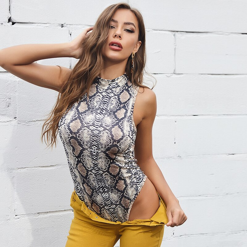 Mulheres sexy snake print macacão sem mangas bodysuit moda salto terno roupas femininas ternos do corpo para o sexo feminino