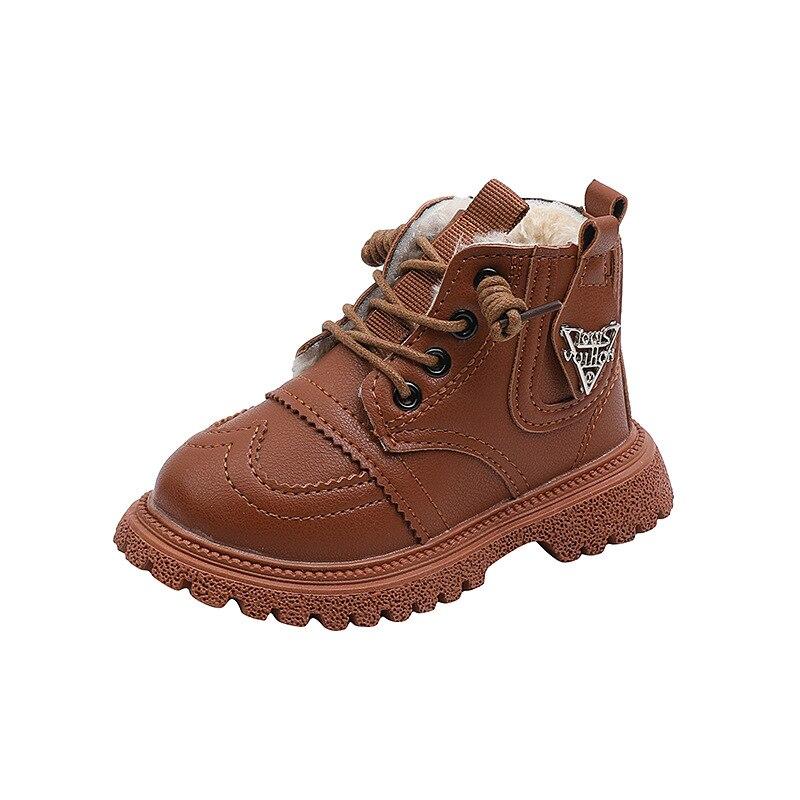 2021 botas de couro quente para criancas botas de pelucia para meninos e meninas