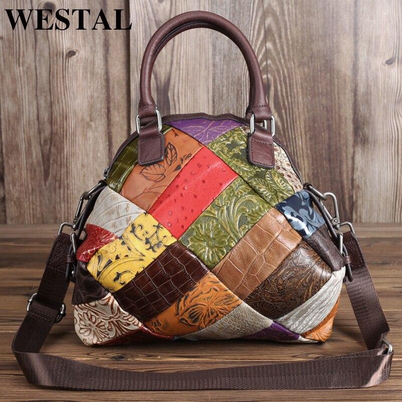 Westal bolsa de ombro feminina de couro genuíno senhoras sacos de mão crossbody sacos para bolsas de couro feminino designer 86381