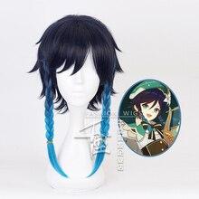 Genshin Impact Venti parrucche gradiente blu corto intrecciato resistente al calore gioco di capelli sintetici parrucca Cosplay Anime + cappuccio parrucca