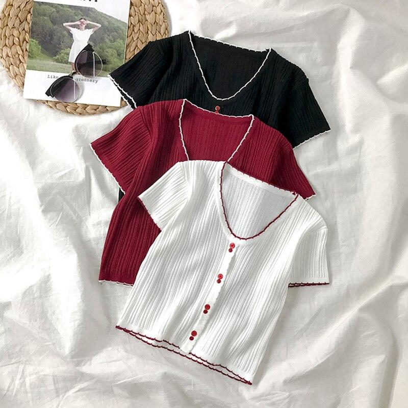 Women's Short-Sleeved T-shirt 2021 Summer New Fresh Elegant V-neck Student Style Slim-Fit Knitted Sh