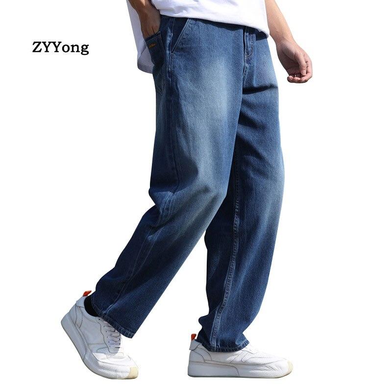 Летние тонкие дышащие прямые мужские широкие джинсы шаровары в стиле хип-хоп синие джинсовые штаны для папы Свободные мешковатые брюки для ...
