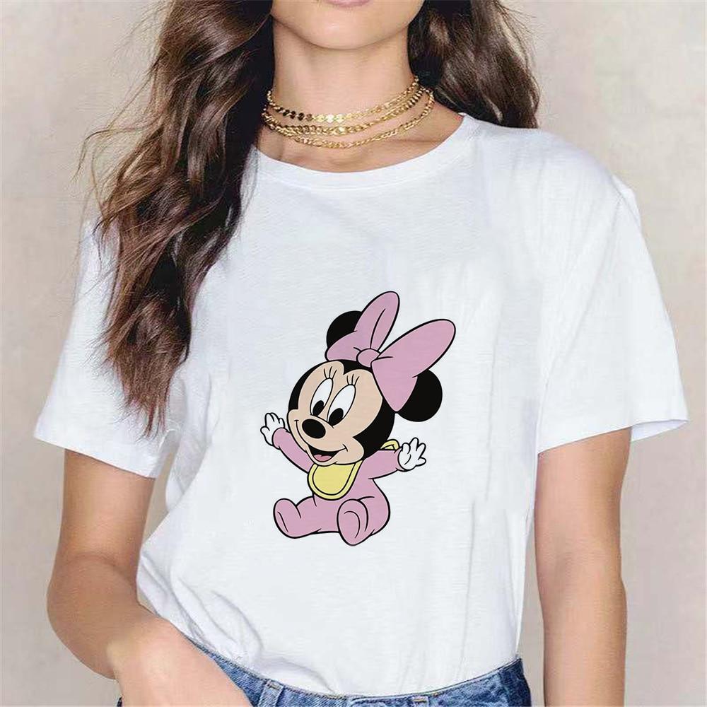 Camiseta Kawaii con estampado de ratón de Minnie para Mujer, ropa holgada...