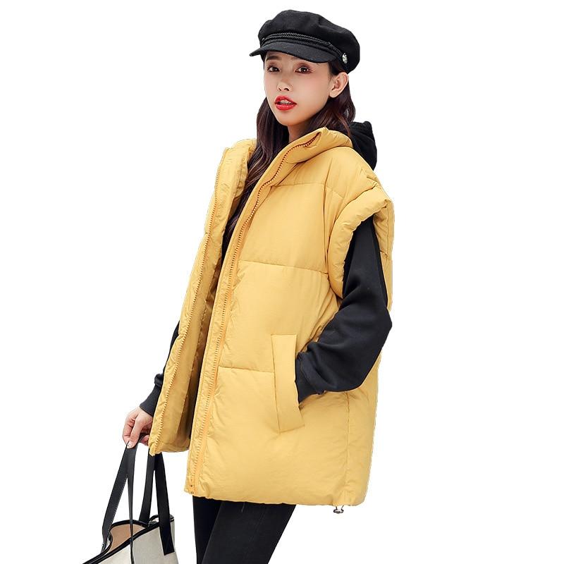 Женский короткий жилет, Зимний новый дикий жилет, Свободный Повседневный жилет, хлопковый жилет с наплечным воротником, защитная куртка на ...