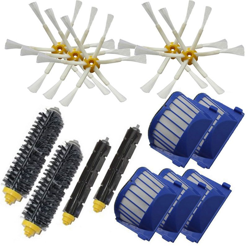 Beater Brush + Aero Vac Filter 6 Armed Side Brush for iRobot Roomba 528 529 595 610 620 625 630 650 660 vacuuming robot