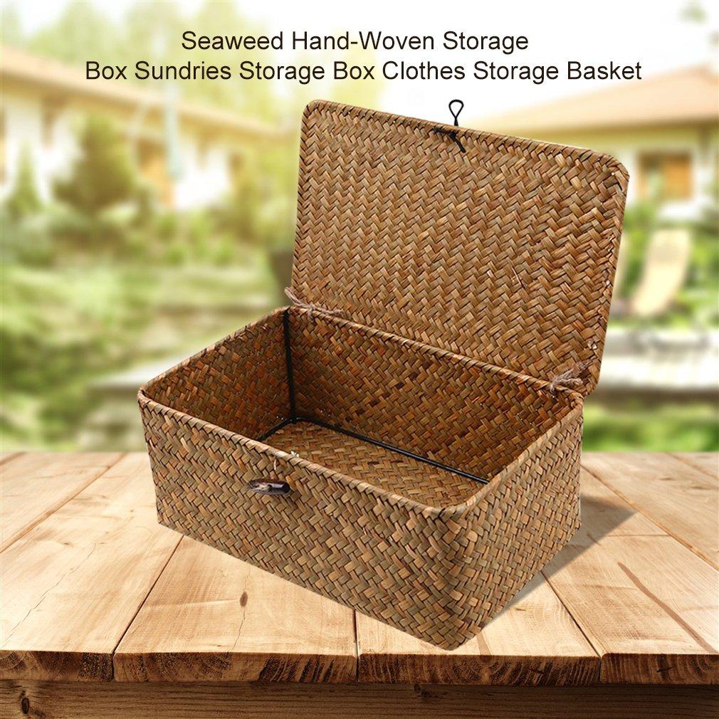 Seaweed Hand-Woven Storage Box Desktop Sundries Clothes Storage Basket Finishing Basket With Lid Dro