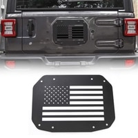 Spare Tire Carrier Delete Filler Plate Tramp Stamp Tailgate Vent-Plate Cover for Jeep Wrangler JL 2018 2019(Black Flag)