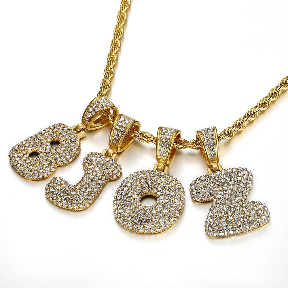 Collier de lalphabet Initial de lettre de Tennis de CZ glacé couleur dor chaîne de Hiphop des hommes de couleur dor livraison directe de bijoux