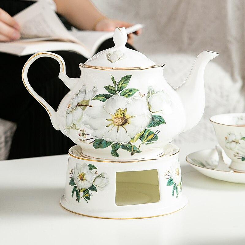 العظام الصين النمط البريطاني شاي بالأعشاب المزهرة طقم شاي 900 مللي إبريق قهوة حجم كبير مع موقد الشاي الدافئ طقم شاي بعد الظهر