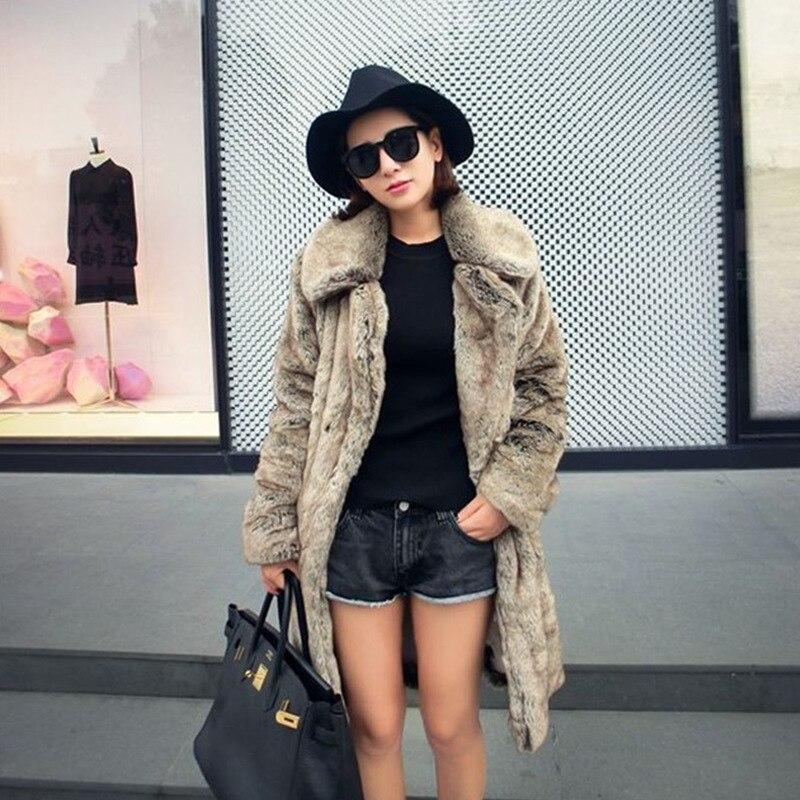 Новинка, Женское пальто с искусственным мехом, модное повседневное длинное пальто с лацканами, куртка с искусственным лисьим мехом, плюшево...