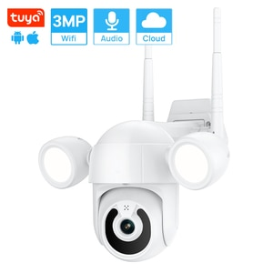 3MP Tuya Wifi Camera Waterproof Outdoor PTZ Floodlight Camera PIR Human Detection  Full Color Night Vision CCTV IP Camera