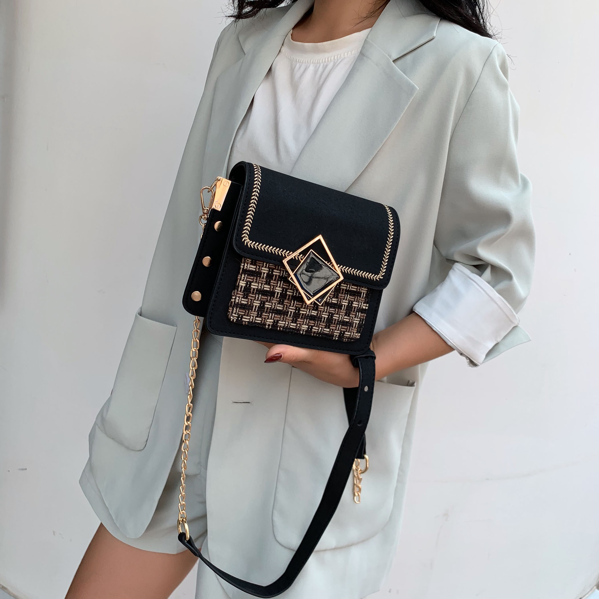 Scrub Leather Weave Crossbody Bags For Women 2021 Fall Chain Shoulder Simple Bag Female Luxury Handbags and Purses