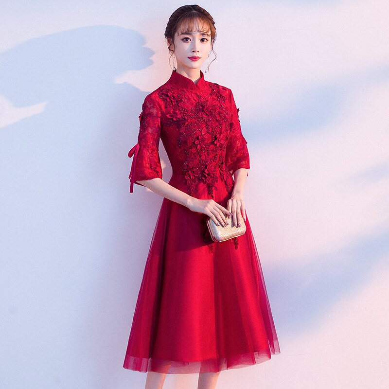 lace Applique Design Qipao Chinese Style Wedding Dress Cheongsam Evening Dress Polyester Formal Dress For Pregnant Woman ZL635 enlarge