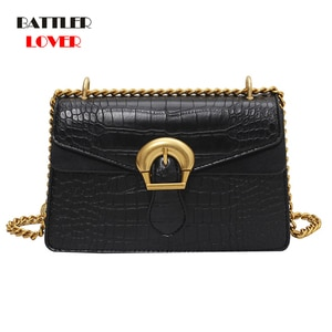 Bags for Women 2021 New Crocodile Pattern Handbag Fashion Shoulder Flaps Female Chain Lock Messenger Bag Mujer Small Square Tote