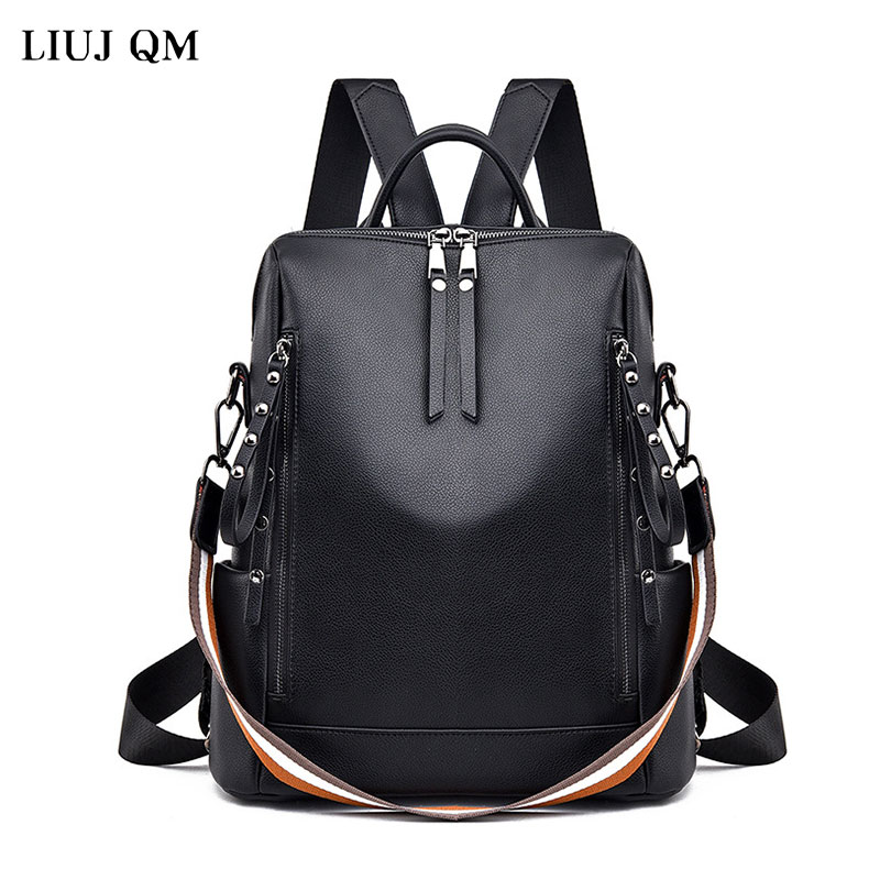 2018 design women black pu leather backpack high quality casual large capacity backpacks for school travel bag for women 2021 New Women Backpack Designer High Quality Leather Women Bag Fashion School Bags Large Capacity Waterproof Travel Backpacks