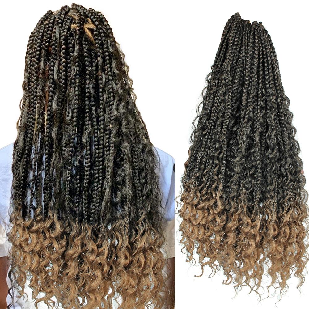 YxCheris pelo sintético de ganchillo desordenado diosa caja trenzas pelo con rizos extremos 22 pulgadas bohemio Ombre trenzado extensión de pelo