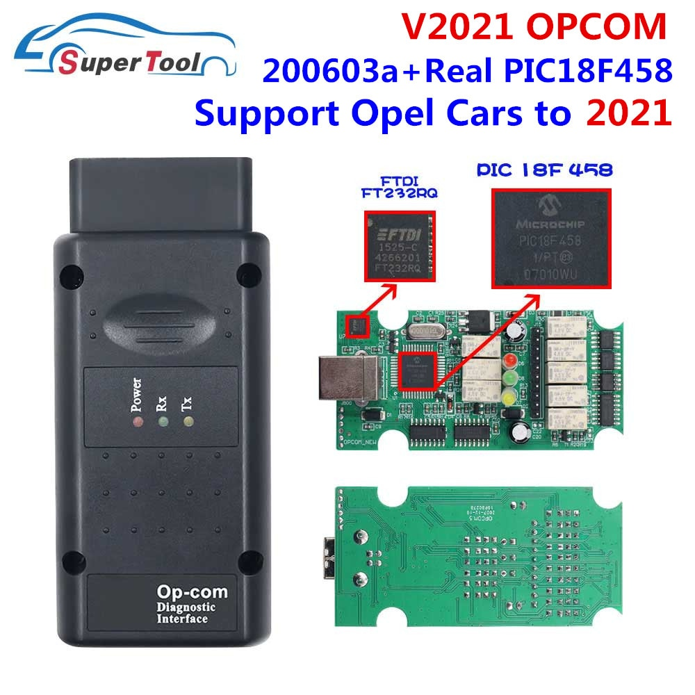 Latest OP COM 2021 200603a For Opel CAN BUS Car OPCOM 1.95 Real PIC18F458 FTDI FT232RL Chip Opcom 2018 170823C OBD2 Auto Scanner