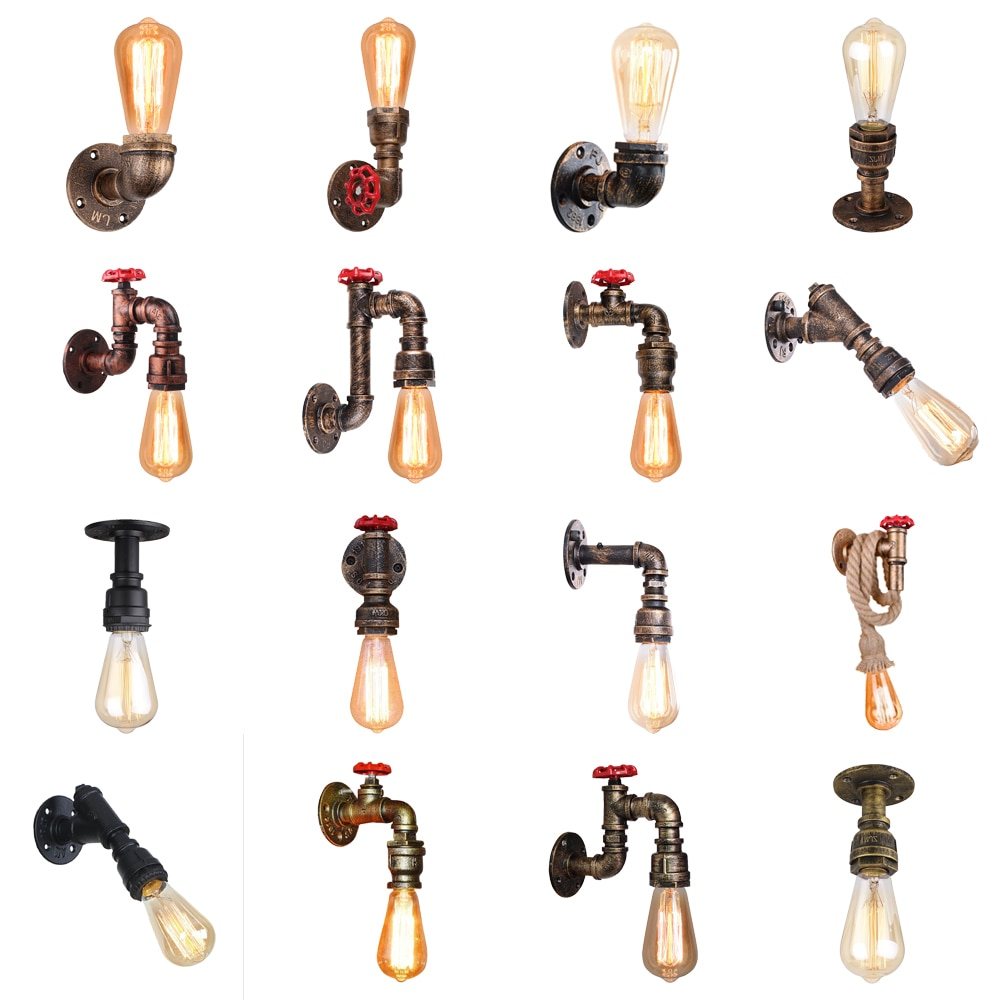 Vintage Wall Lamp Industrial Retro Wall Light Creative Water Pipe Wall Sconce Iron Metal Lamps for Restaurant Cafe Bar Kitchen