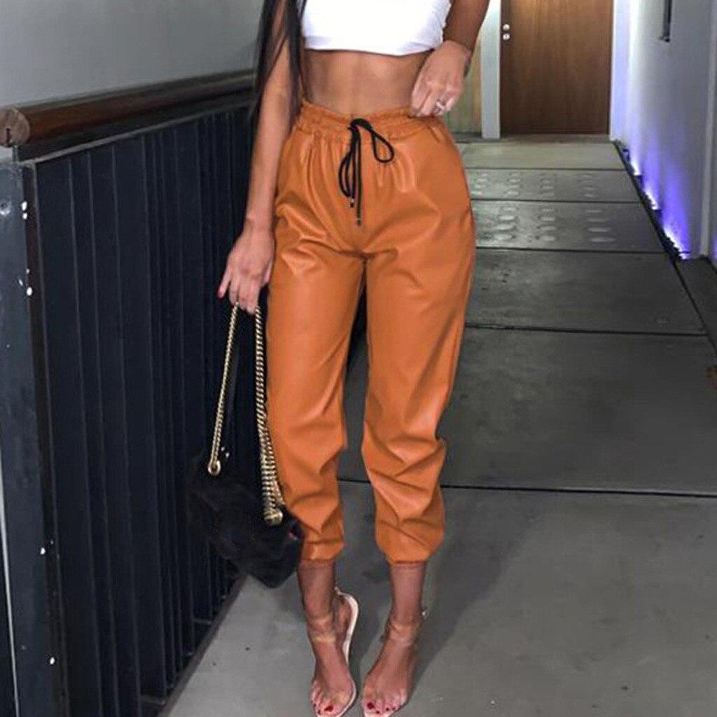 Женские брюки из искусственной кожи, оранжевые Леггинсы с высокой талией, штаны для бега, штаны, брюки, Femme Hiver Velvet #