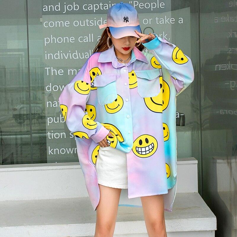فضفاضة تناسب المرأة أزياء بلوزة 2021 المرأة الكرتون بلوزة مطبوعة بلوزة حجم كبير الإناث Z863