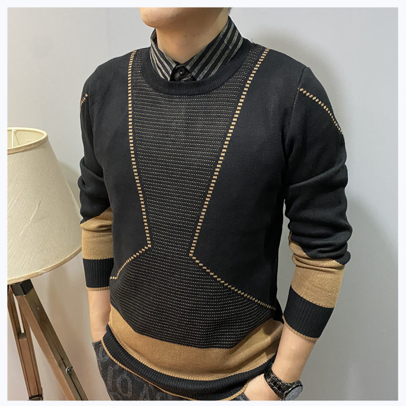 Men's Pullovers False Two-Piece Shirt Collar Knitwear Trendy Jacquard Autumn and Winter Long-Sleeved Bottoming Shirt Top for Men
