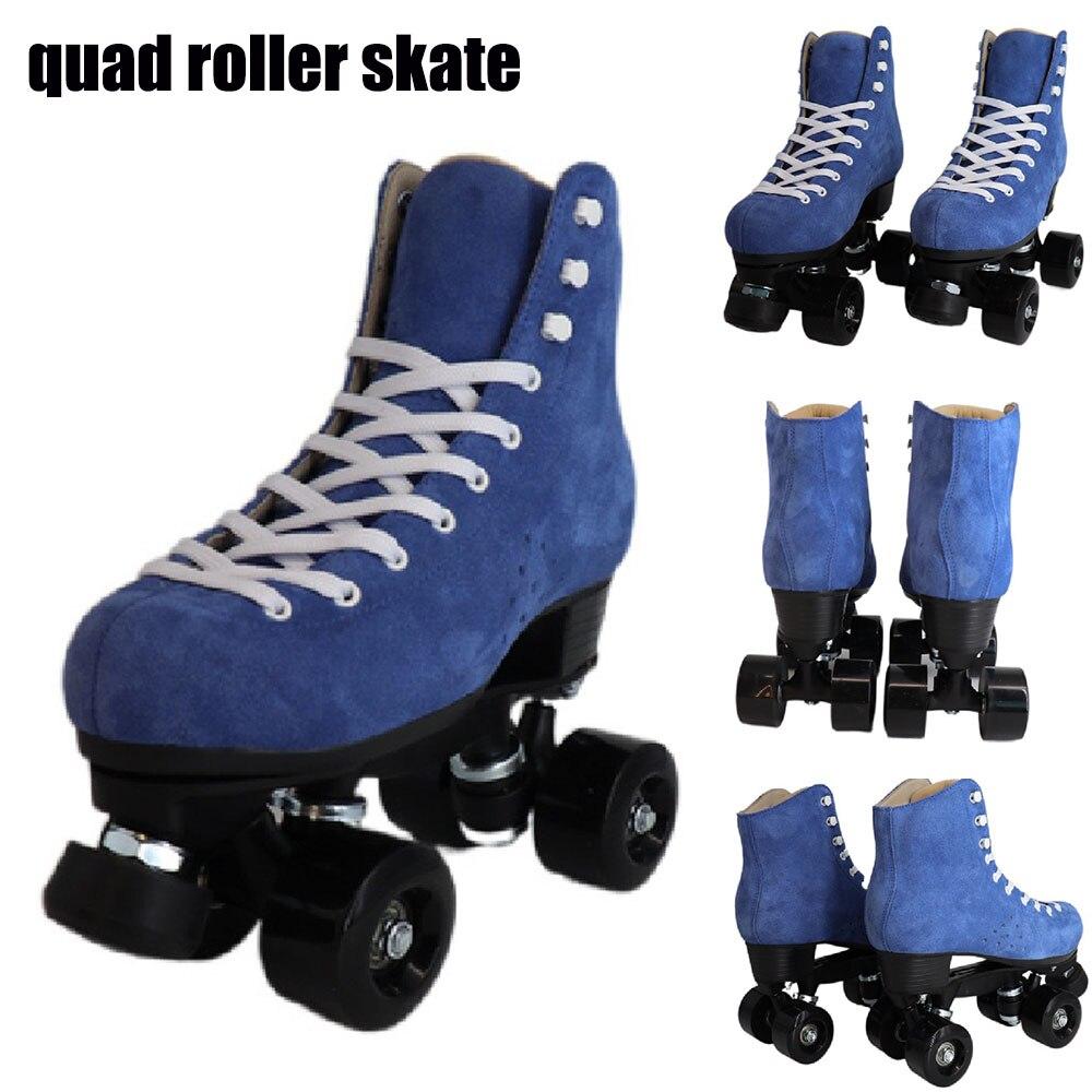 Роликовые коньки с двойной линией в стиле ретро синие замшевые кожаные квадратные коньки профессиональные мужские женские детские 4-колесн...