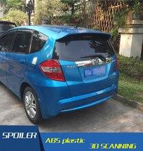 For Honda Jazz Fit Spoiler High Quality ABS Material Car Rear Wing Primer Color Rear Spoiler For Honda Fit B Spoiler 2008-2013