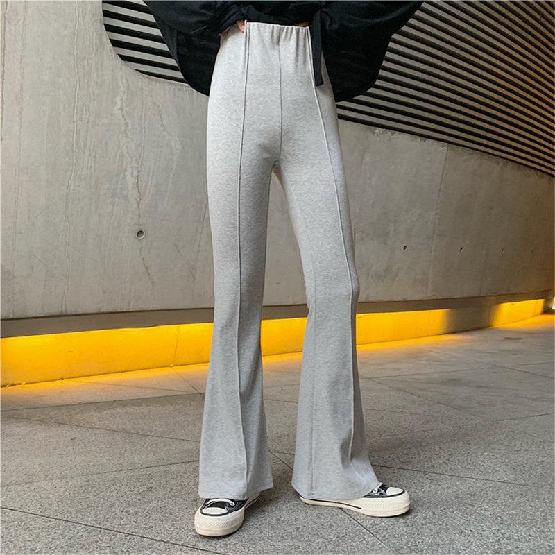 Hzirip 2019 otoño Simple esbelto de cintura alta Flare pantalones cortos Chic alta calle Casual básico adelgazante todos los pantalones del partido
