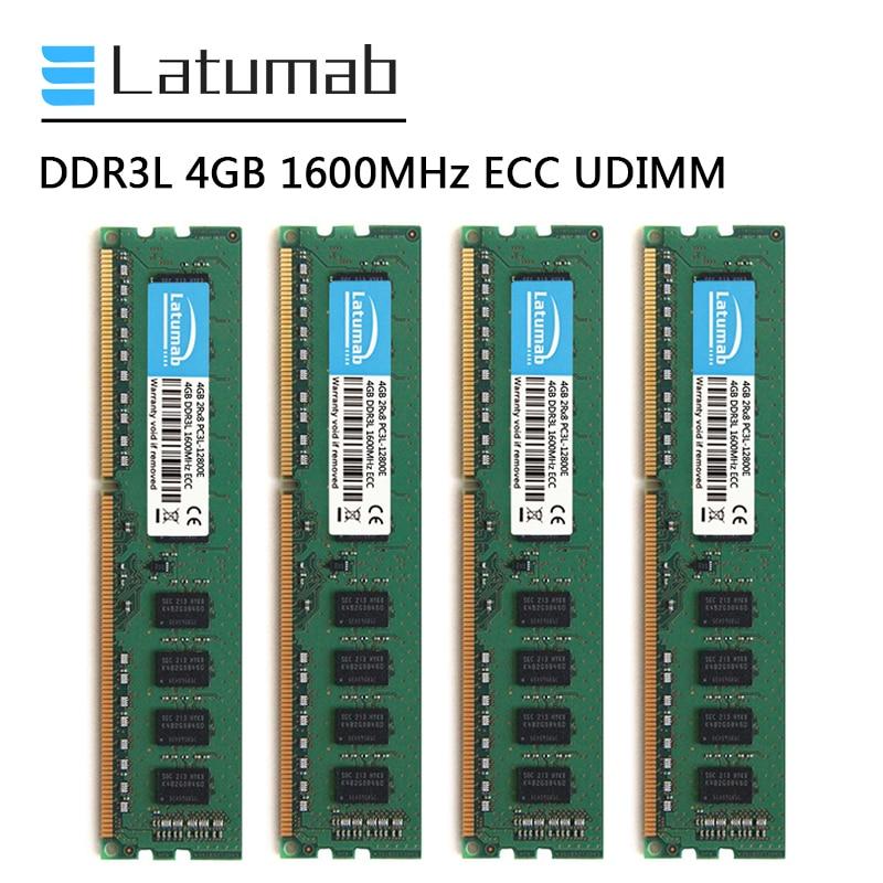 Latumab DDR3L 4 جيجابايت 8 جيجابايت 16 جيجابايت 1600 ميجا هرتز محطة الذاكرة 240Pin ECC UDIMM PC3L-12800E ذاكرة الوصول العشوائي ميموريا DDR3 1.35 فولت ECC غير مخزنة RAM