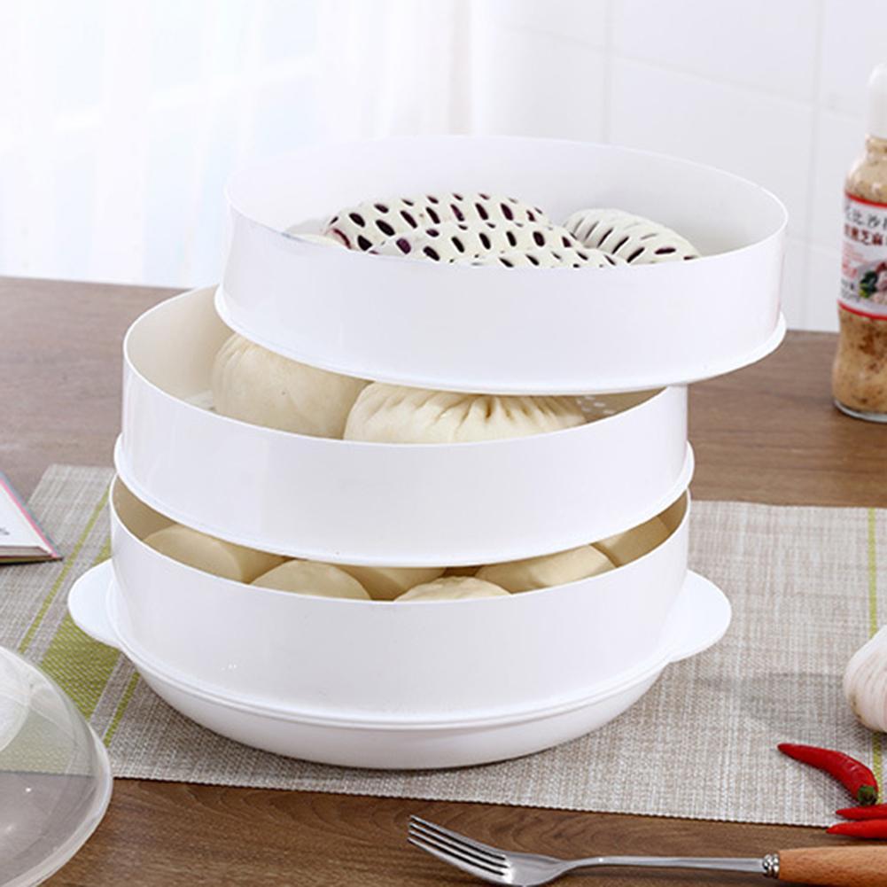 Vaporizador de alimentos de microondas redondo de un solo/doble nivel verduras de cocina utensilios de cocina de pescado plástico la protección del medio ambiente no es caliente