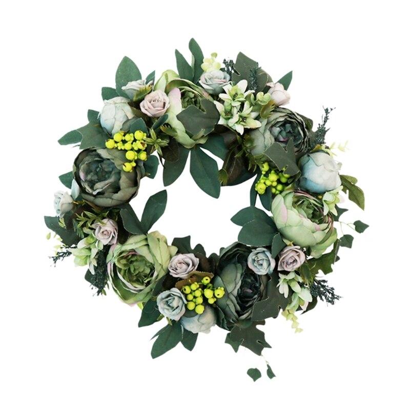 Guirnalda de peonías artificiales, guirnalda de puerta de flores verde con hojas verdes para decoración de puerta delantera, decoración de pared de boda, decoración del hogar