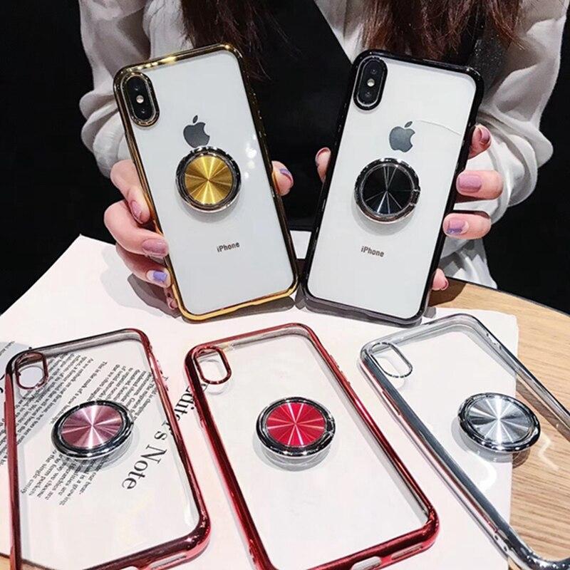 Funda de anillo magnético para iphone 6 s 6 s plus 8 7 plus, funda de soporte transparente 360 para iphone 11 Pro XS Max XR XS X 10 11Pro