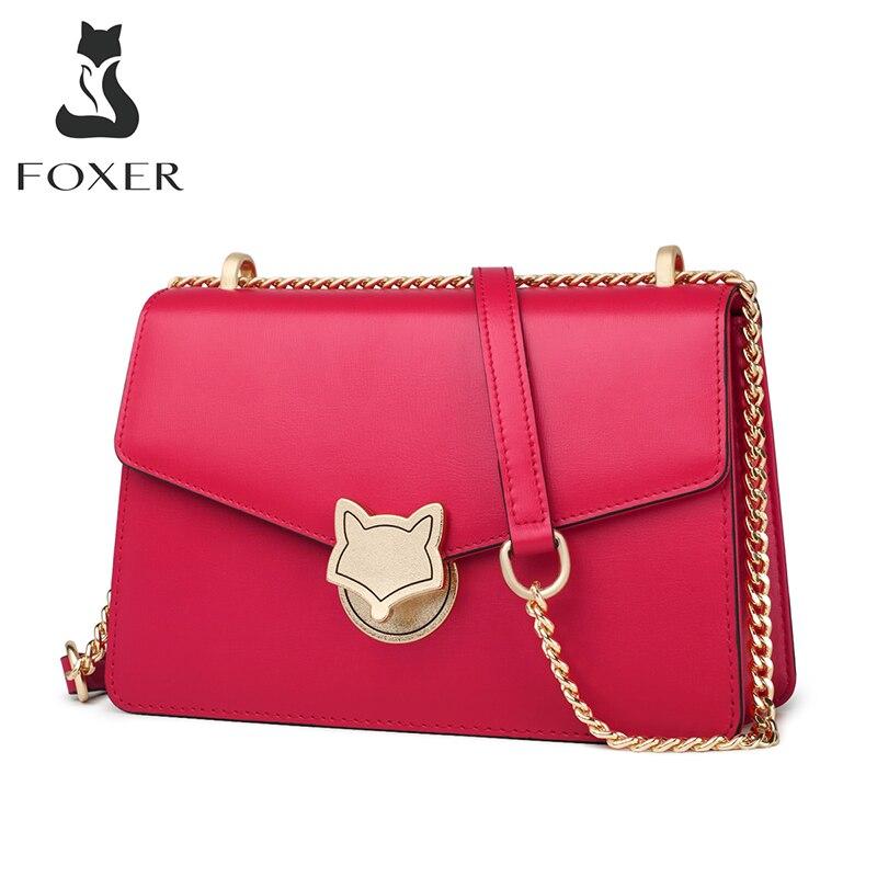 FOXER مدينة سيدة تخفيف حقائب كروسبودي صغيرة جلد البقر الوجه المرأة بسيطة حقيبة كتف الموضة عالية الجودة حقيبة ساع